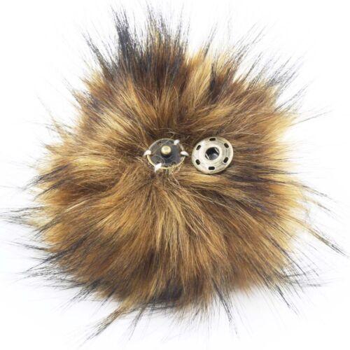 5 pulgadas Pack de 6 Bola piel sintética mapache Pom Pom con botón de prensa Tejer Sombrero Hágalo usted mismo