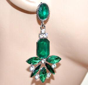ORECCHINI-donna-fiore-cristalli-verdi-gocce-strass-pendenti-ragazza-CC118