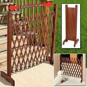 Garden Fence Panels Wood Border Free Standing Dog Gate Folding Portabl Puppy Pet
