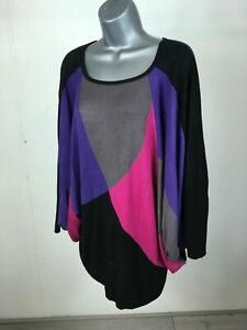 Women-039-s-Monsoon-Black-Purple-Pink-Grey-Knit-Batwing-Sleeve-Tunic-Jumper-Medium