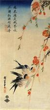Traditional Japanese Swallows on Peach Tree Bird Print Picture by Ando Hiroshige