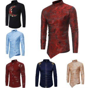 Luxury-Men-039-s-Casual-Dress-Shirt-Slim-Fit-T-Shirt-Long-Sleeve-Formal-Blouse-Tops