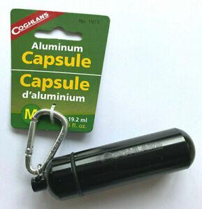 Coghlans-Aluminium-Notfall-Kapsel-Aufbewahrung-EDC-Survival-Karabiner-M-schwarz