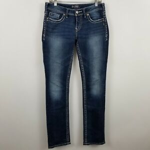 Silver-Aiko-Baby-Boot-Cut-Women-039-s-Dark-Wash-Blue-Jeans-Size-28-x-33