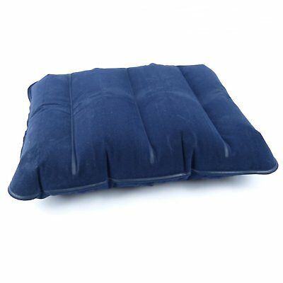 HIGHLANDER SLEEPEZE INFLATABLE FLOCKED PVC AIR PILLOW TRAVEL CUSHION CAMPING