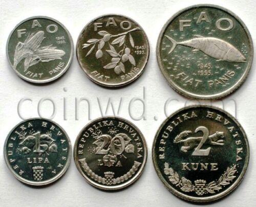 Croatia 3 coints set 1995 FAO #4350