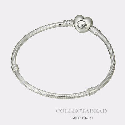 "Authentic Pandora Sterling Silver Bracelet with Pandora Heart Clasp 7.1""  590719"