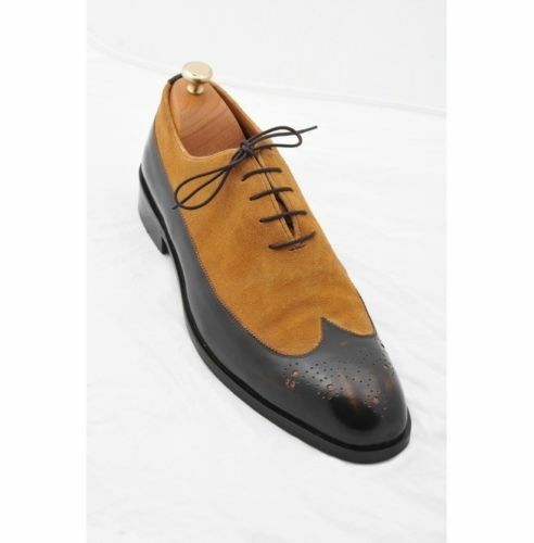MEN NEW HANDMADE SUEDE LEATHER BLACK SHOES WINGTIP TWO TONE BLACK LEATHER & TAN FORMAL SHOES e7b69d