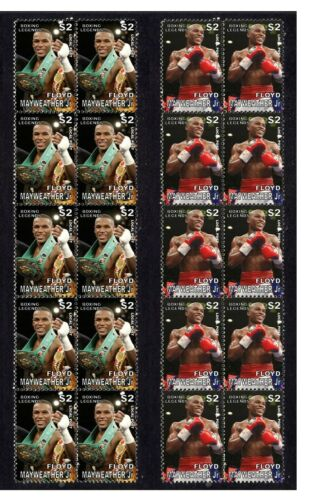 FLOYD MAYWEATHER BOXING LEGEND MINT VIGNETTE STAMPS PAIR 1