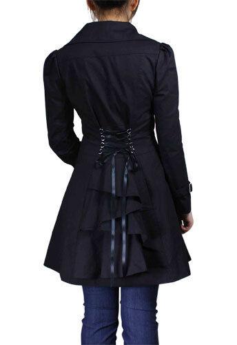 BLACK LACE UP GYPSY COAT COTTON JACKET WAVY VICTORIAN STEAMPUNK VINTAGE