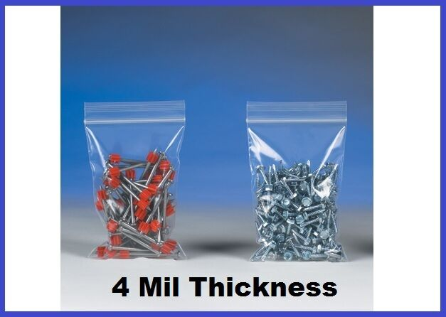 1000 Reclosable Poly Plastic 4 Mil Ziplock Bags (6 to 10