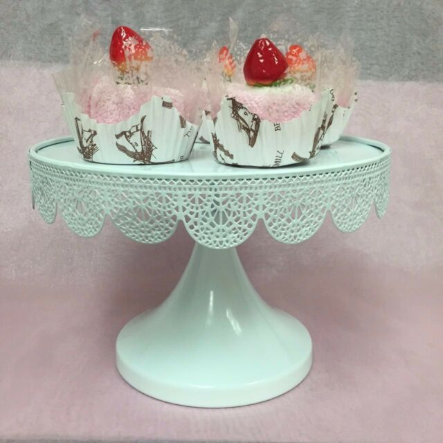 "Set of 2 ROUND CAKE STAND Metal 9.5"" Modern Dessert Wedding Display Party Event"