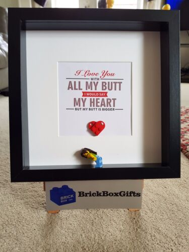Love you with all my butt heart 3d Frame Shabby Chic present gift