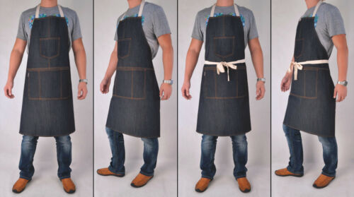Unisex Pockets Denim Full Apron Chef Barista Florist Workwear Painter AP-001
