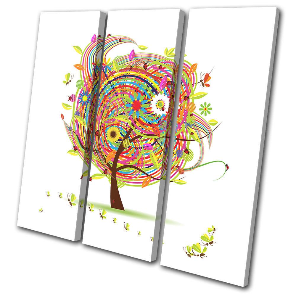 Abstract Colourful Nature Trees  TREBLE Leinwand Wand Kunst Bild drucken