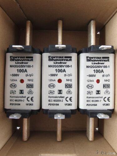 3 x FERRAZ SHAWMUT Lindner Sicherung NH2 100A  3 Stück 1F263