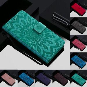 Pour-Motorola-Moto-G7-Z4-Play-Tournesol-en-Cuir-Flip-Portefeuille-Carte-Etui-Support