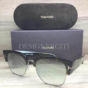 New Tom Ford Carson Mens Sunglasses TF 441 01A Black Plastic 56mm Grey Lens