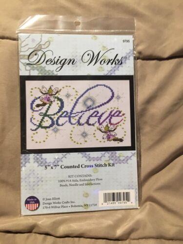 Design Works Cross Stitch Kit #9795 Believe  Fairies 5x7 Rainbow Counted