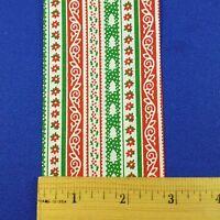 Vintage Lion Craft Ribbon Trim Christmas Stripes Calico gaiety-2 3/4 X 10 Y