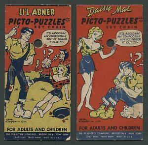 Two-c-1950-LI-039-L-ABNER-PICTO-PUZZLES-KEY-CHAIN-Backing-Cards-Daisy-Mae-Too