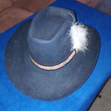 John B. Stetson 4x Beaver 7 1/2 Dark NavyBlue Black Cowboy Hat Stetson Band vtg