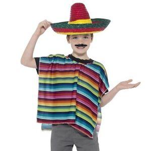 La imagen se está cargando INFANTIL-MEXICANO -Disfraz-INSTANTE-Kit-infantil-Poncho-y- c69f6b02c75