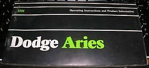 NOS-Mopar-81-Dodge-Aries-K-Car-Owners-Manual-1981-VGC-FREE-SHIPPING