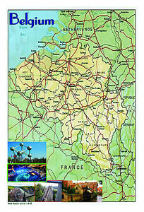 Carte Belgique Enseignement.Belgique Carte Poster Affiche Murale Format A3 Educatif Type De L