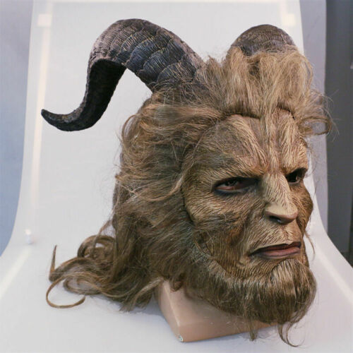Beauty And The Beast Mask Cosplay Prince Mask Horror Beast Long Hair Mask Props