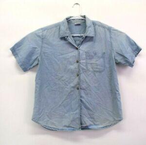 Cabin-Creek-Women-039-s-L-Short-Sleeve-Button-Up-Casual-Denim-Shirt-Top-Light-Blue