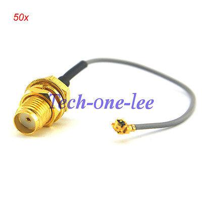 2x 8-inch RP-SMA Bulkhead Female to U.FL//IPX Connector w// 1.13mm Mini-Coax Cable