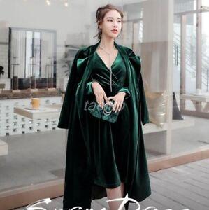 Occident Jacket Coat Trench Outwear Mid Luxury Belted S Long Velvet Chic Women's RaZ4qfBR