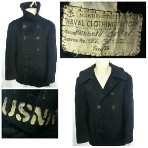 VINTAGE-WWII-WW2-US-Navy-10-Button-Pea-Coat-Jacket-NAVAL-CLOTHING-FACTORY-36-SM