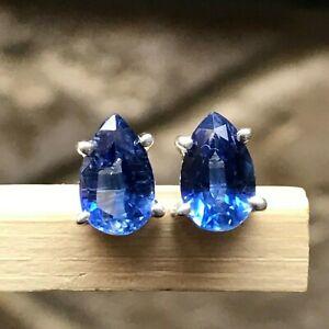 Natural Royal Blue Diamond stud earrings in 925 silver