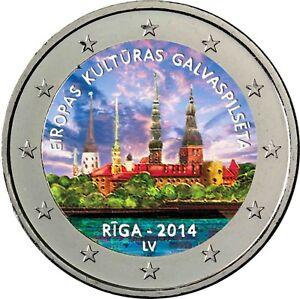 Lettland-2-Euro-2014-Kulturhauptstadt-Riga-in-Farbe