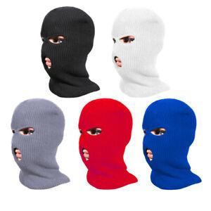3 Hole Full Face Mask Ski Mask Winter Cap Balaclava Hood Beanie Hat Black