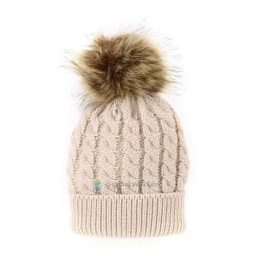 Kids Baby Warm Winter Knit Beanie Fur Pom Pom Hat Cap Crochet Ski Mother Beanie