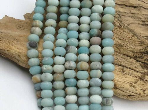 """8/"""" Strand Matte Amazonite LARGE HOLE Beads 2.5mm Hole 8x12mm Rondelle"""
