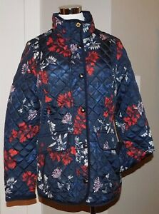 NEW JOULES NEWDALE NAVY FLORAL PRINT QUILTED JACKET SLIMMING COAT WOMENS 8 !!