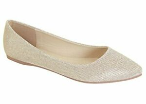 f70415fc39e BellaMarie Angie-28 Classic Pointy Toe Ballet Flat Shoes Champagne ...