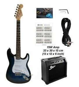 Christmas Gift ! Electric Guitar 15W amp ST Style full size for beginners Dark Blue Stripe iMEG285AP Canada Preview