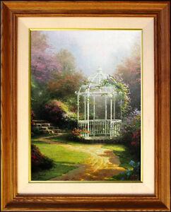 Thomas-Kinkade-1-295-Lilac-Gazebo-Winsor-Manor-16x12-A-P-Framed-Canvas