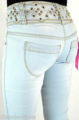 Blue Rags Jeans iceblue Straight Leg Women Pants Studs 930 NEW