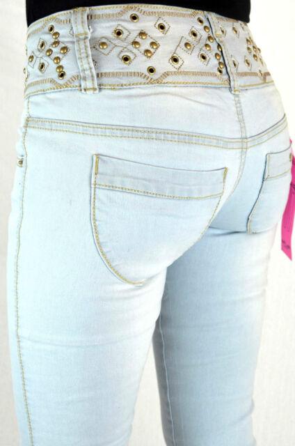 Blue Rags Jeans iceblue Straight Leg Damen Hose Nieten 930  NEU