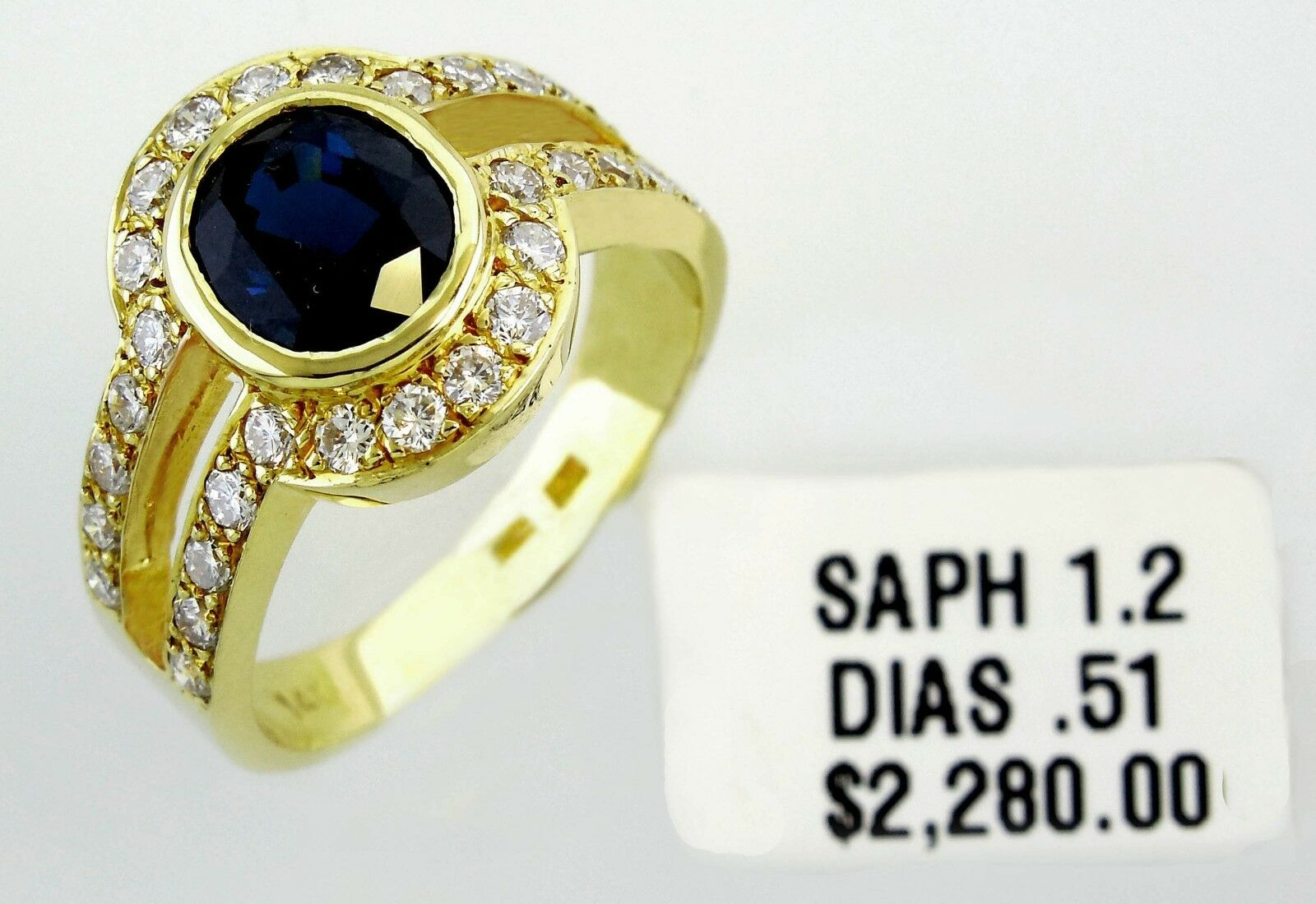 14KT YELLOW gold AWESOME  LADIES SAPPHIRE AND DIAMONDS RING. 13034R