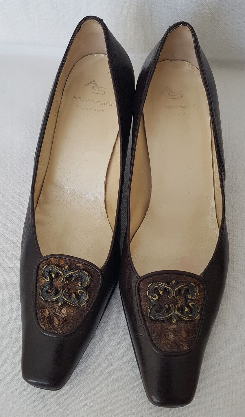 ASENSIO Comfort Dark Brown Leather Court Work Occasion shoes EU 38 UK 5