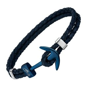 Lotus-Style-Armlet-Men-039-s-Anchor-LS1832-2-Leather-Blue-Original-Brand-Jewellery