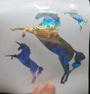 UNICORN STICKERS DECALS SILVER IRIDESCENT GIRLS BEDROOM LAPTOP WALL CAR MOTORBIK
