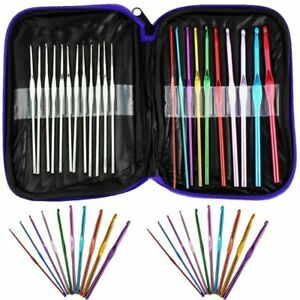 22 Pcs Multi Coloured Aluminium Crochet Hooks Knitting Needles Set 0.6mm-6.5mm